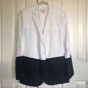 Michael Kors Linen Colorblock Blazer Black/White.